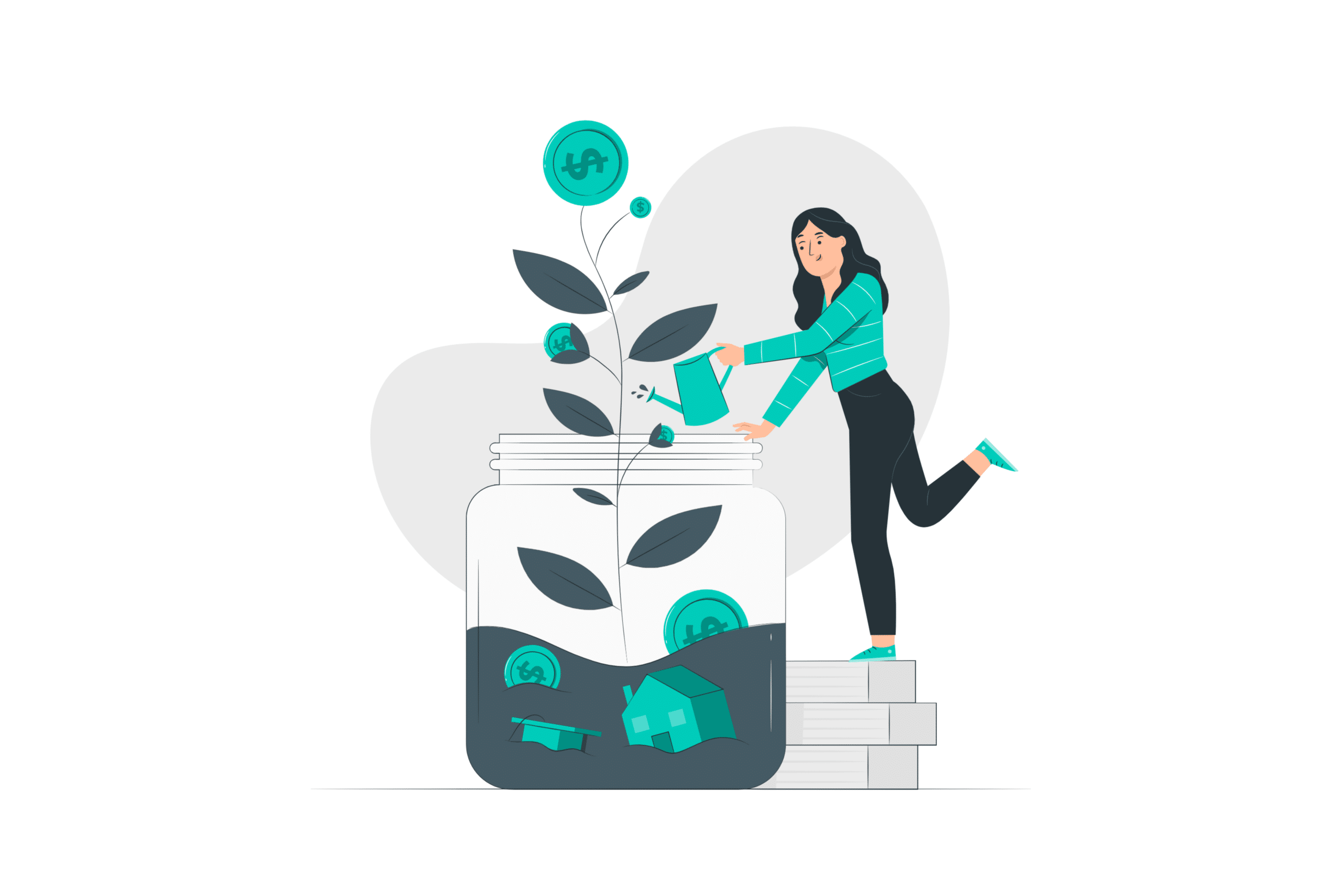 illustration about someone taking care of a investment