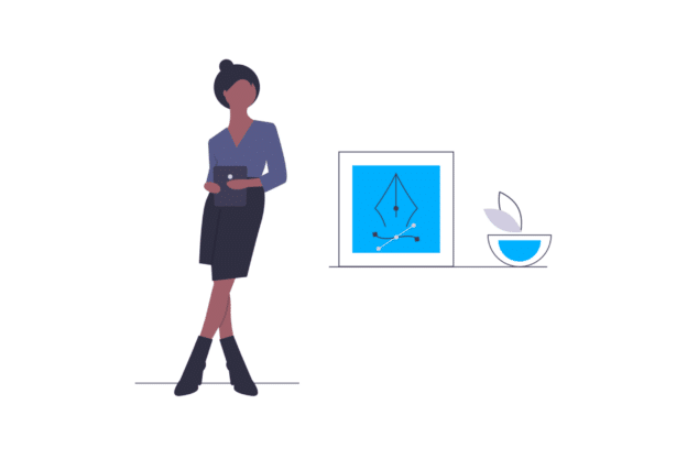 Illustration about an interior designer preparing a house for sale