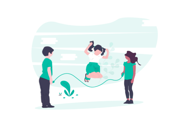 Illustration about young kids playing in their new home