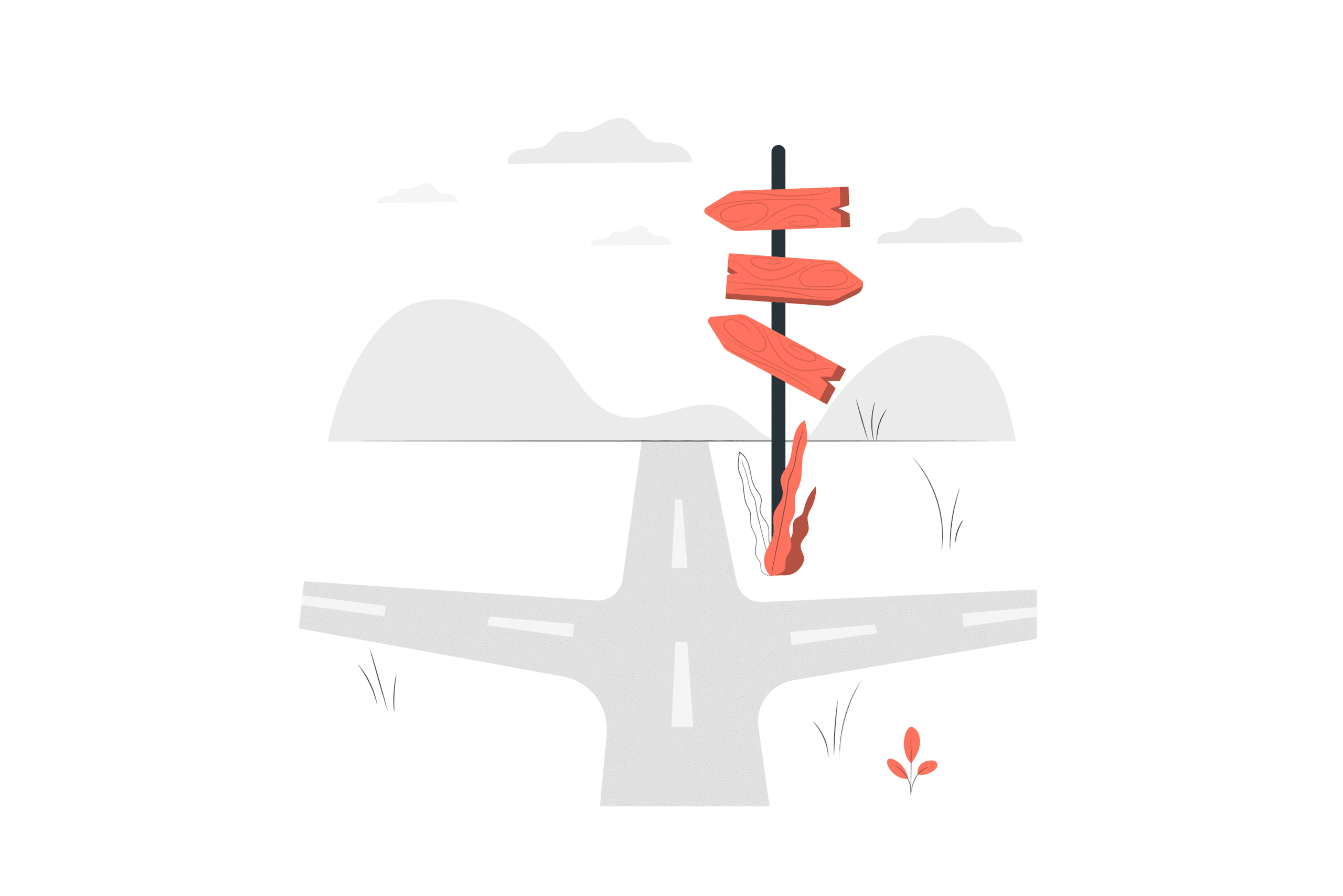 Illustration about multiple ways to go