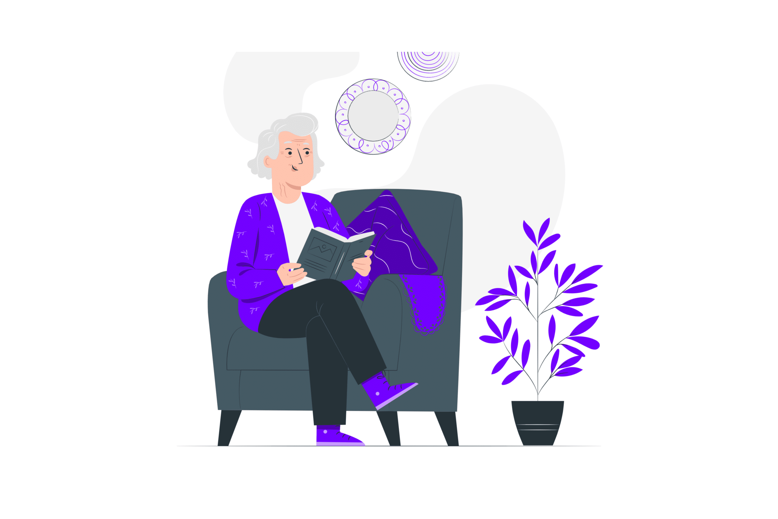 illustration about an old lady looking for houses