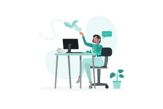 illustration about a property manager talking to the phone with clients