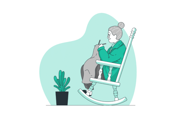 Illustration about a happy retired woman with a mortgage