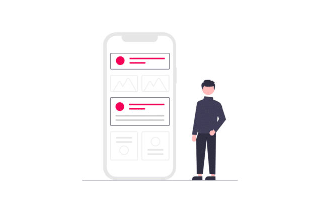 Illsutration about the wireframe of a new property management app