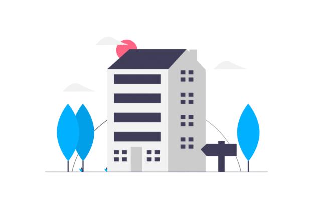 illustration about a big apartment building