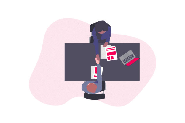 Illustration about two people closing a deal and being happy