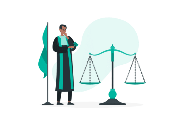 Illustration about a jude determining laws in real estate