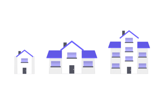 Illustration about Different houses with different mortgages