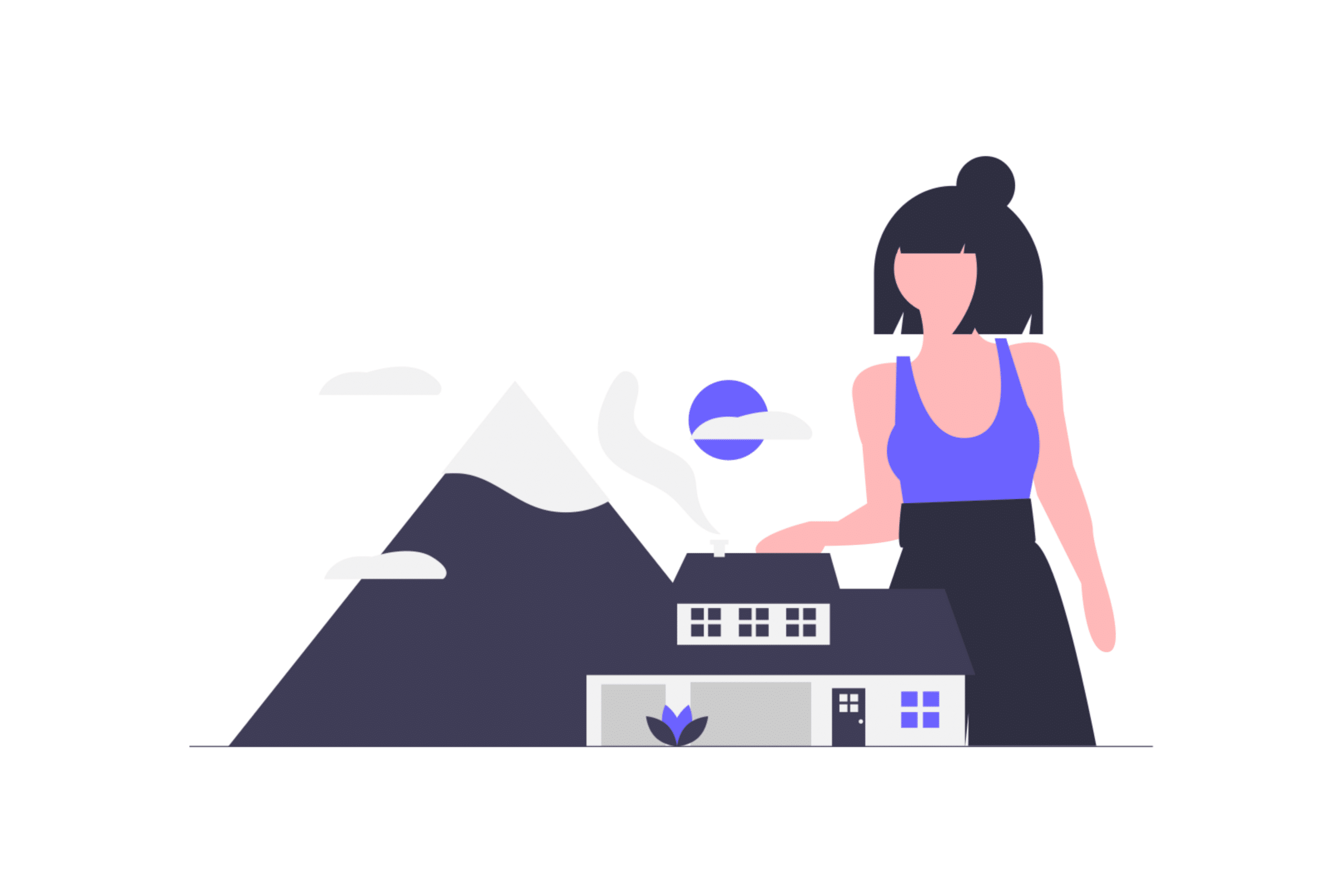 Illustration about a woman inheriting a family property