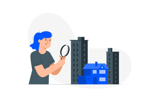 Illustration about someone carefully checking a property