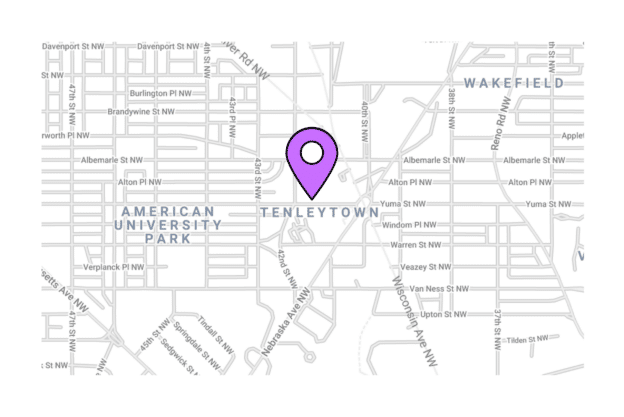 Illustration about the washington city map, the Tenleytown area