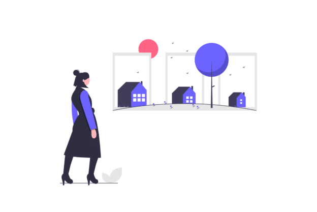 Illustration about someone deciding which house she should buy