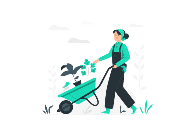 Illustration about someone taking care of her garden in Spring