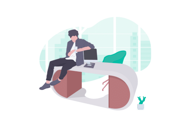 illustration about a trendy and modern office
