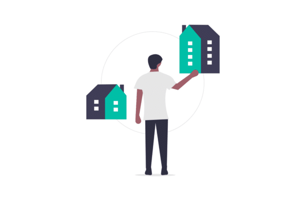 Illustration about the investor evaluating two different properties