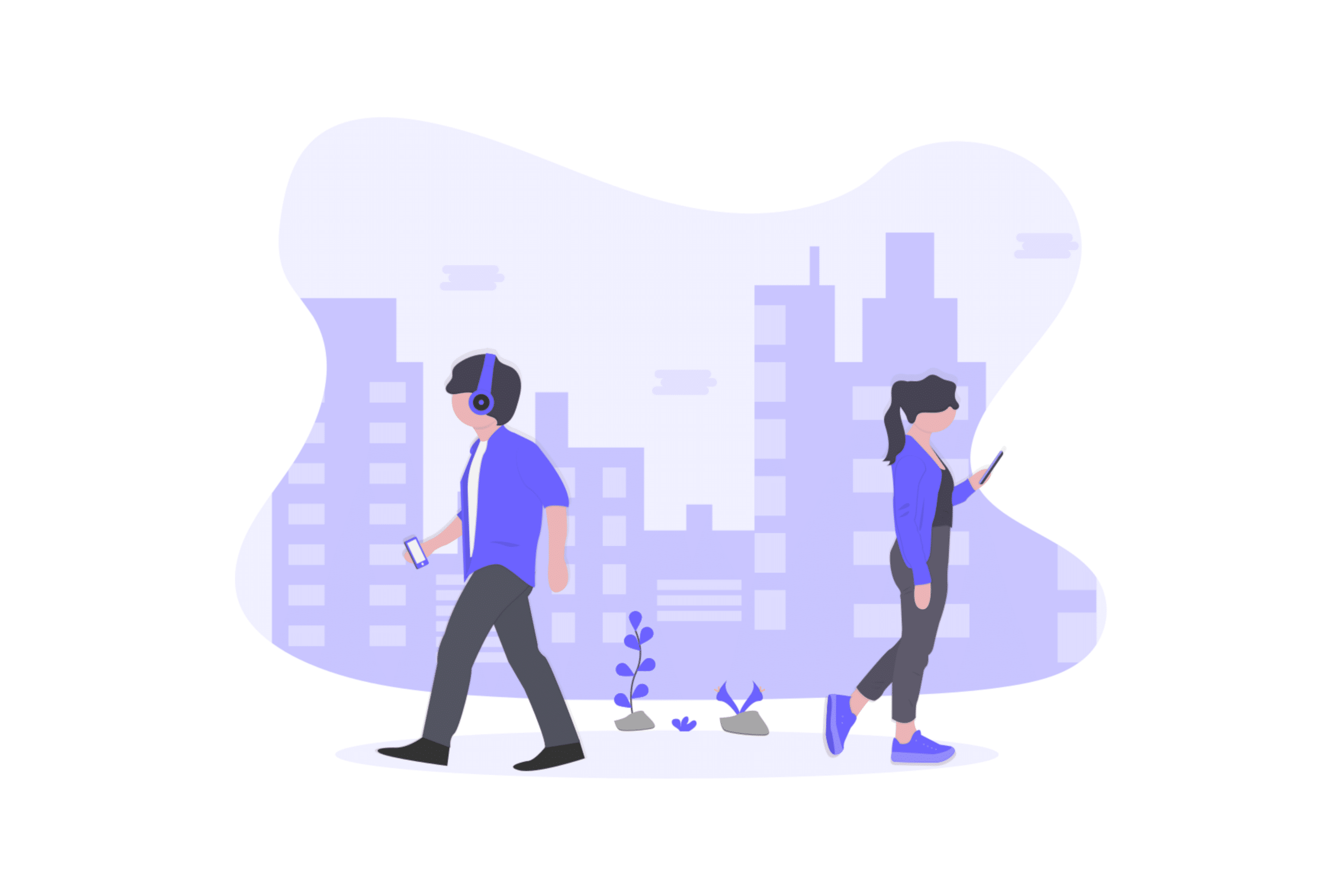 Illustration about two millennials looking for a real estate property