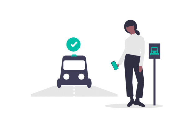 Illustration about someone requesting a uber