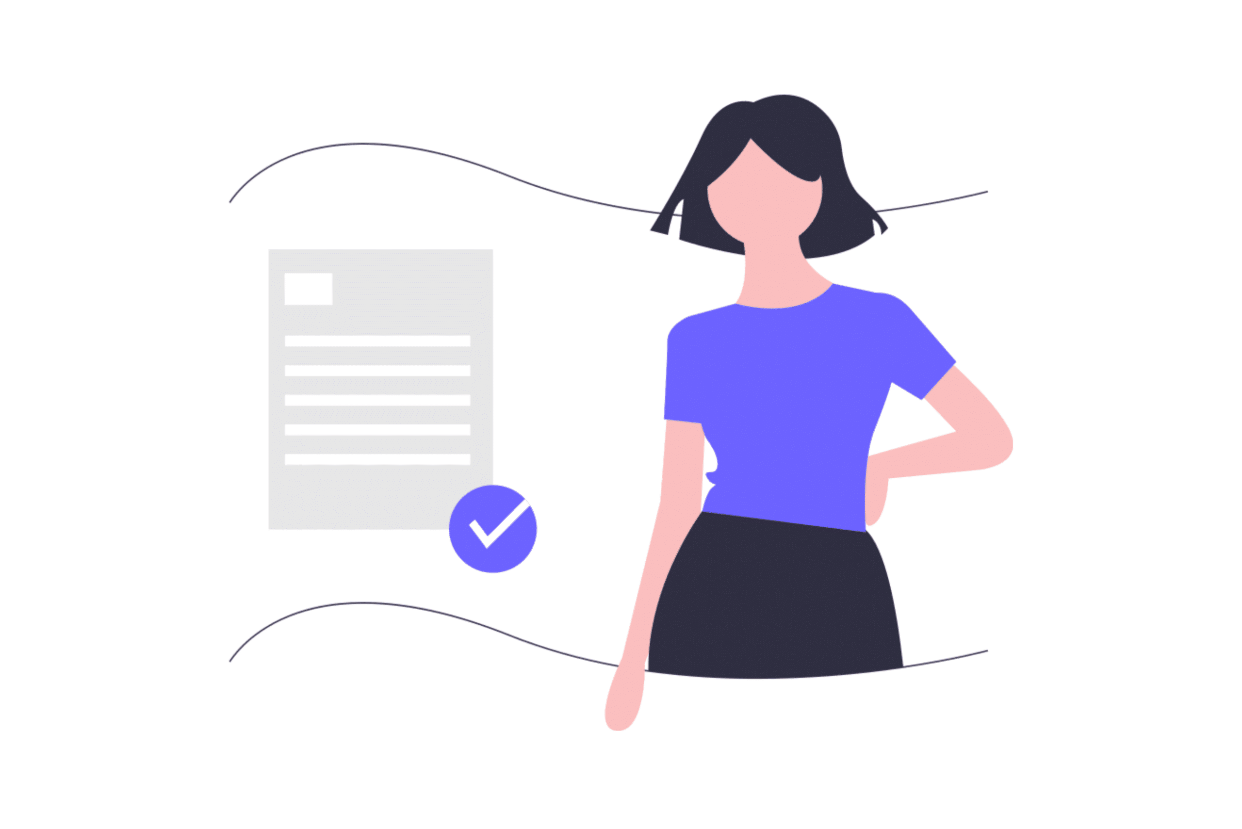 illustration about a woman that have her tax forms in order