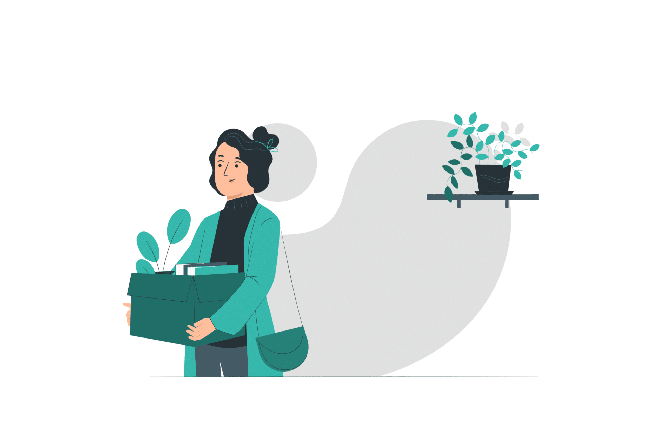 Illustration about a tenant picking up her stuff and moving out