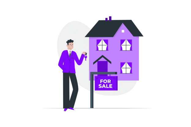 Illustration about hiring a broker for selling or buying a house