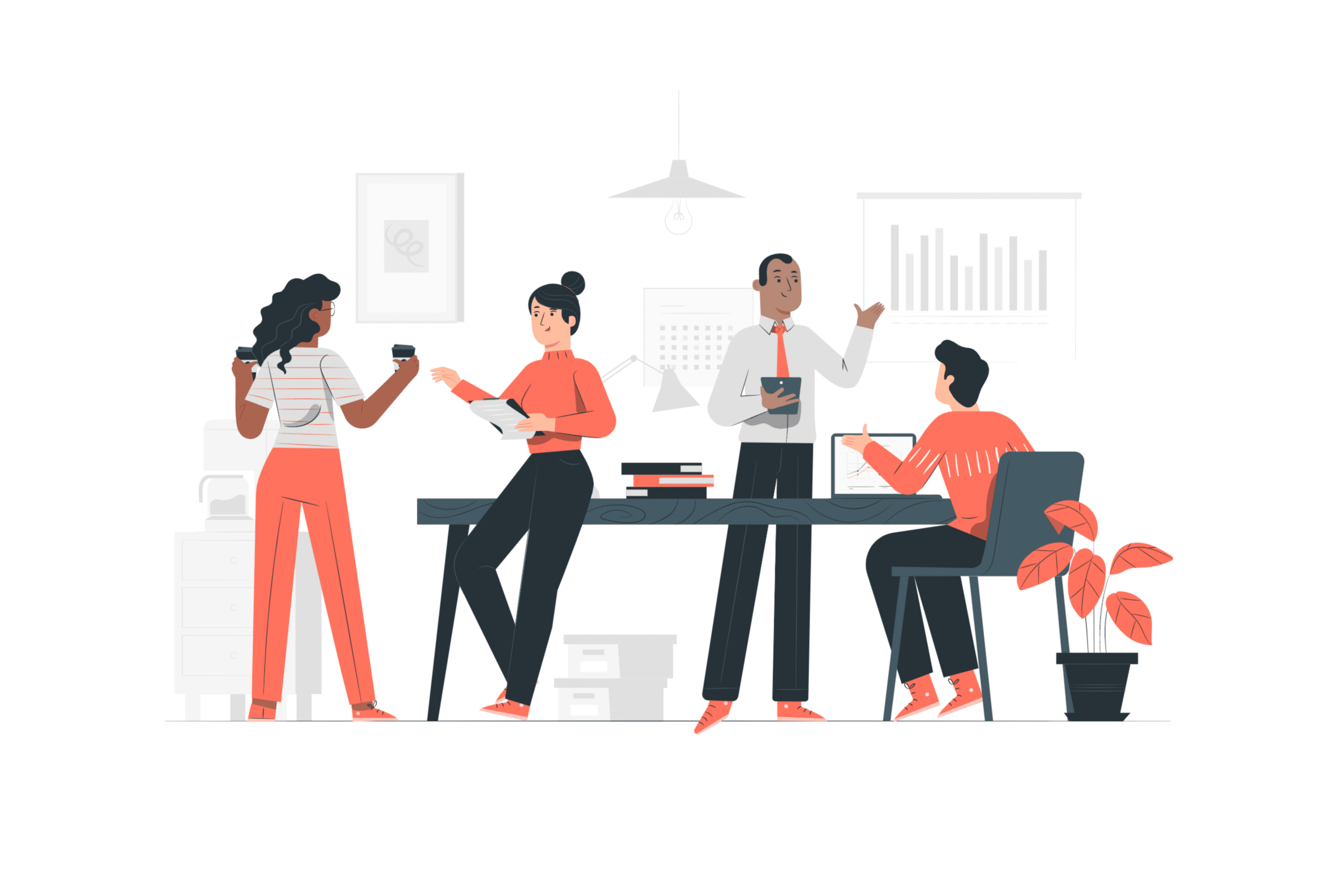 Illustration about a crowded office space