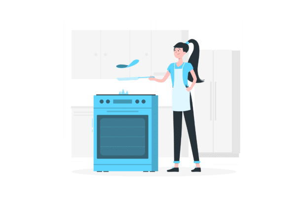 Illustration about an small kitchen that looks super big