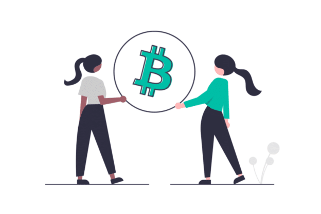 Illustration about the P2P process of Bitcoin