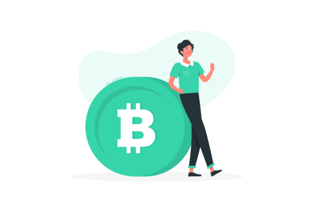 Illustration about a bitcoin trader and her knowledge