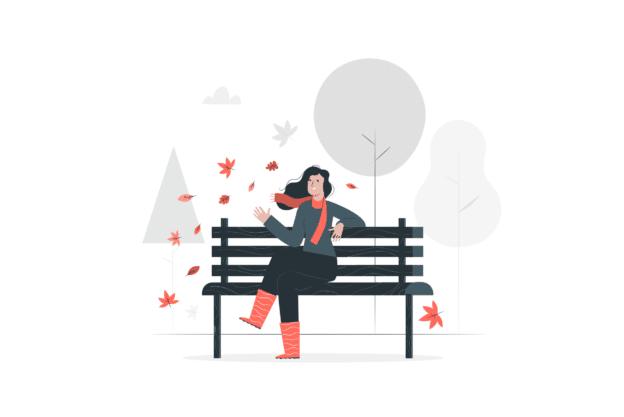 Illustration about a woman enjoying fall trees