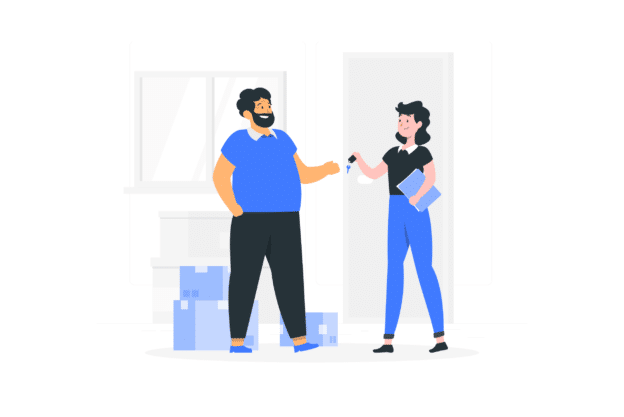 Illustration about a good relationship between owner and tenant