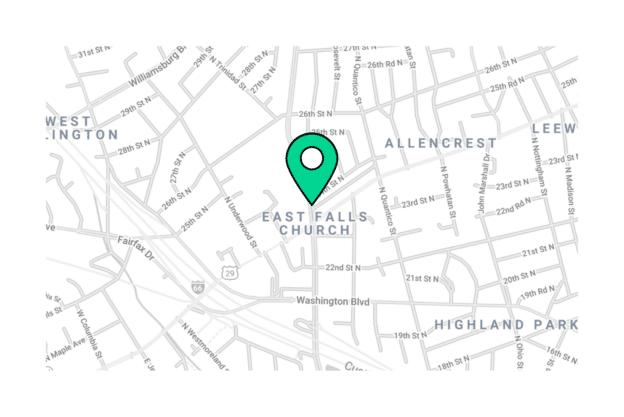 Illustration about the Arlington map, the East Falls Church neighborhood