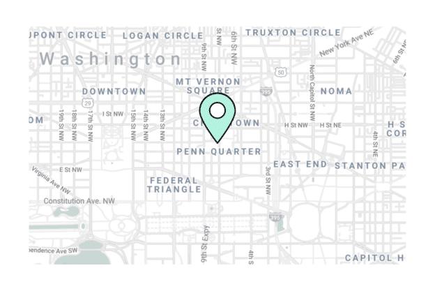 Illustration about the Washington city map, the Penn Quarter area
