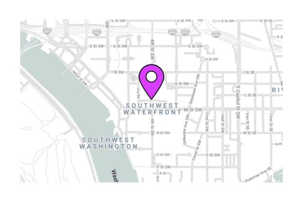 Illustration about the Washington City map, the Southwest Waterfront area