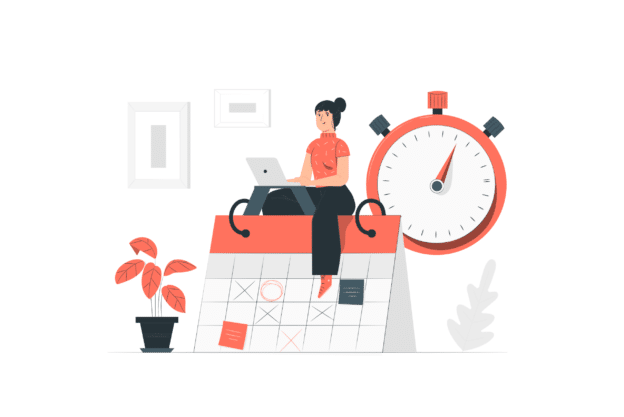 illustration about a full time business woman with no time