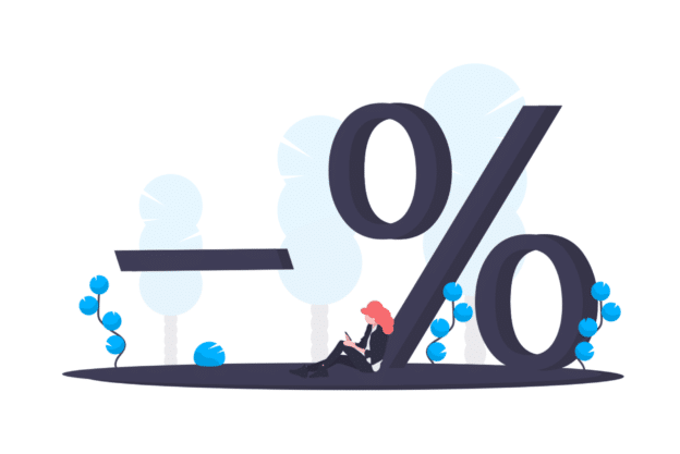 Illustration about lowering the price by a percentage of a rent