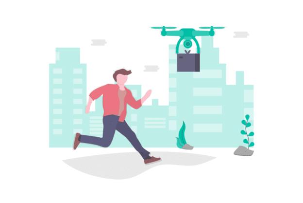Illustration about amazon drones