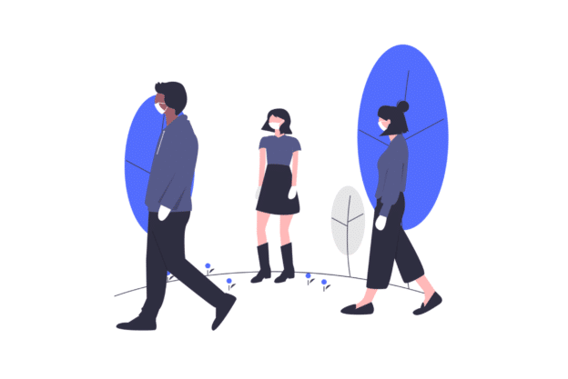 Illustration about social distancing in new york city